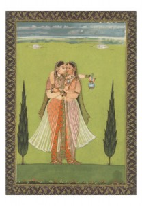 Persian Miniature of Lovers Embracing