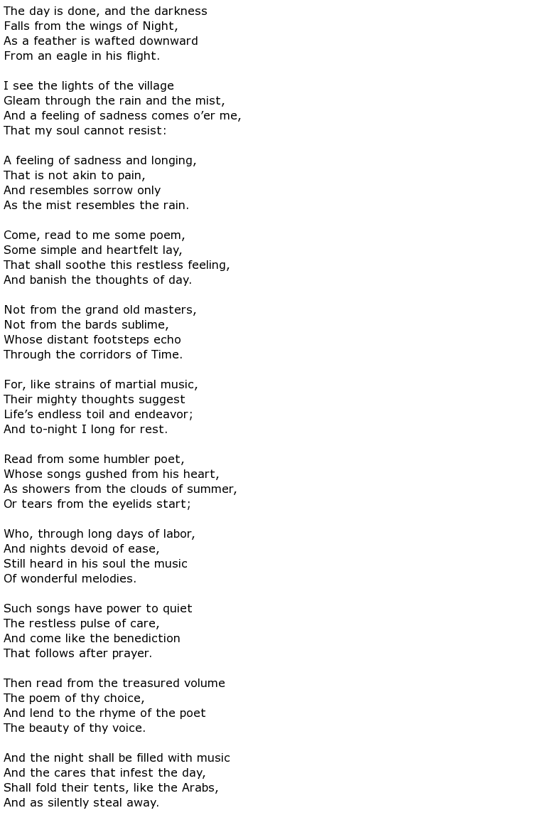 hiawatha poet song of hiawatha by henry wadsworth longfellow the  henry wadsworth longfellow poems > my poetic side hymn to the night