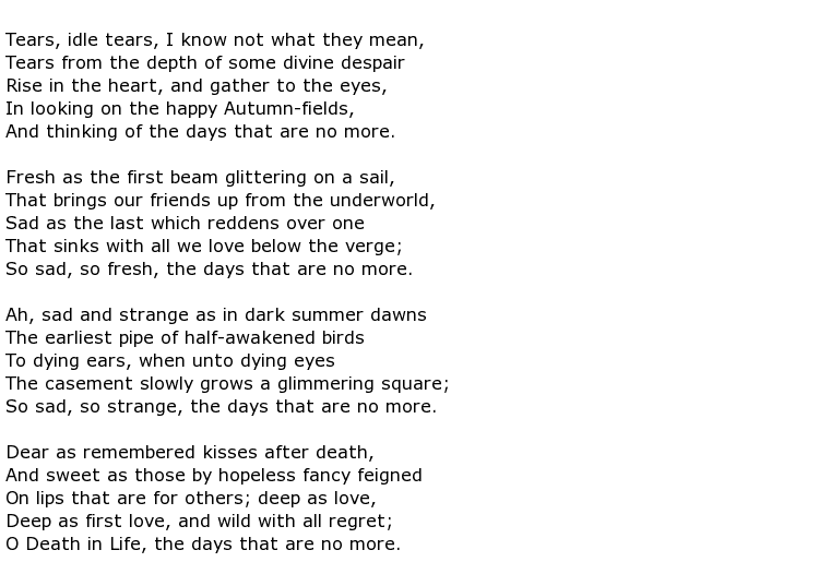 a critical analysis of the meaning of the poem memorial ahh by alfred lord tennyson Brief summary of the poem in memoriam ahh  by alfred, lord tennyson   mourning over a close friend's death (who we later find out is named arthur.