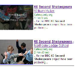 shakespeare search on google video