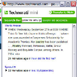 Technorati Mini window