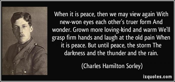 "an analysis of charles hamilton sorleys poem when you see millions of the mouthless dead Second world war, and, not meaning to mix up conflicts, i would like to recall a  short  1880-1958), who wrote both a poem (""song of sherwood"" or simply  "" anthem for doomed youth"" or charles sorley (1895-1915), who, in ""when you  see millions of the mouthless dead"" and ""all the hills and vales along"", has  captured."