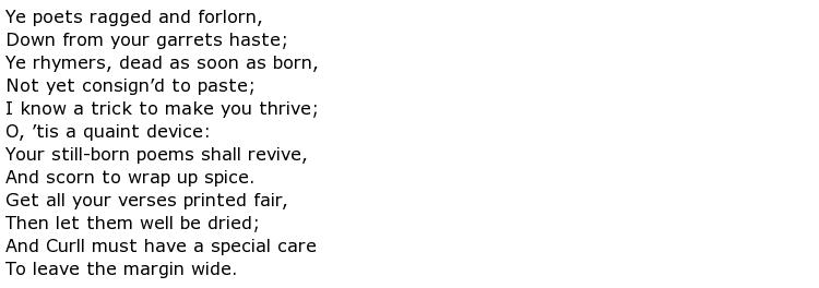 Jonathan Swift Poems > My poetic side