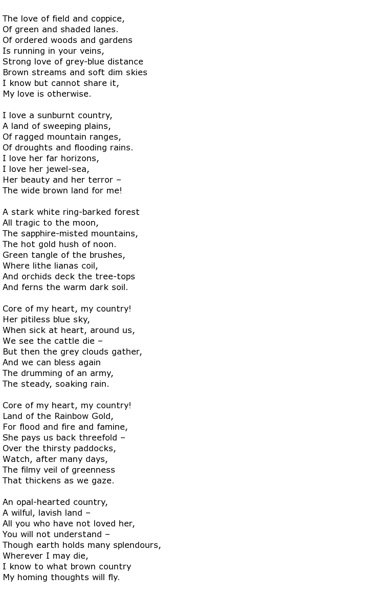 A poem which is not green from my country