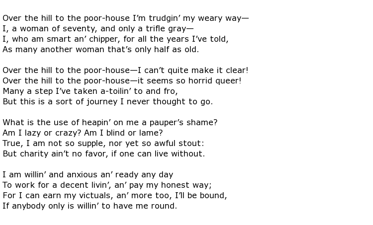 over the hill to the poor house poem