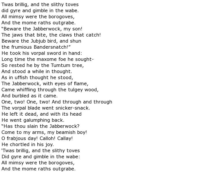 Lewis Carroll Poems > My poetic side