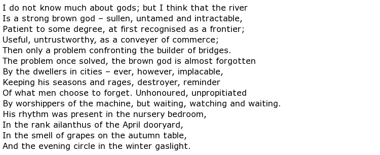 T S Eliot Poems My Poetic Side